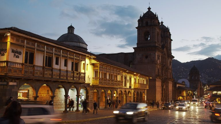 Balconies of the main square of Cusco